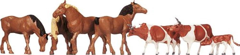 Faller 154002 Cows & Horses BRN 8 HO Scale Figure Set