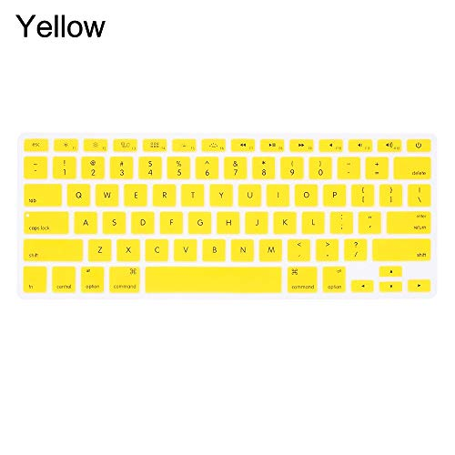 Durable keyboard stickers Silicone Keyboard Cover Keyboard Protector Film A1932 Keyboard Case For Apple Macbook Pro Air 13' 15' 17' (2015 or older) Keyboard accessories (Color : Yellow)