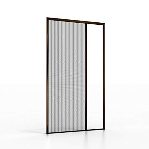"""Insektenschutz Plissee-Tür """"Elegant"""" nach Maß, Fliegengitter-Alurahmen für Türen, Fenster, Schiebetür, Terrassentür, Plissee, Maßanfertigung (Farbe: Braun, Höhe: 20-230cm, Breite: 100-140cm)"""
