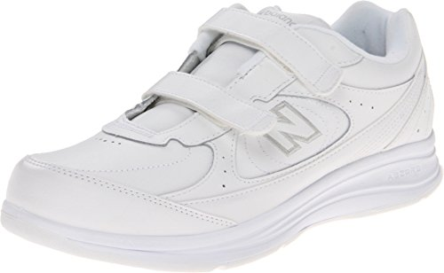 New Balance Women's 577 V1 Hook and Loop Walking Shoe, White/White, 8 W US
