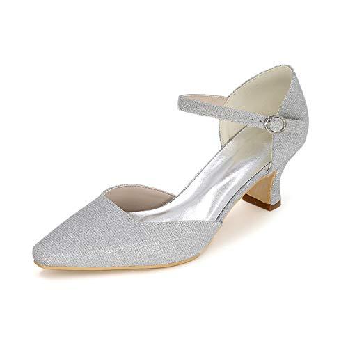 AQTEC Zapato de Tacón para Mujer en Punta De tacón bajo con Correa en el Tobillo Elegantes de Noche Zapatos de Boda de Novia de Salon,Plata,38 EU