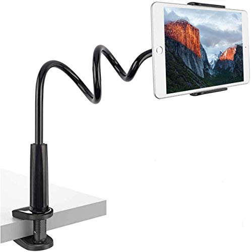 BENKS Gooseneck Tablet Holder, Universal Tablet Stand with 360 Flexible lazy Arm Holder Clamp Mount for iPad Air Pro mini 9.7, 10.5, 11, iPhone, Samsung Tab, Nintendo Switch, 4-11' Devices - Black