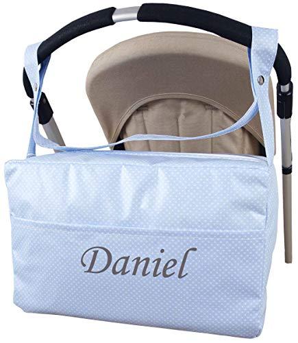 Bolso Carrito Personalizado Nombre Bordado Bebe Maternal Plastificado Modelo Gema-danielstore (Azul)