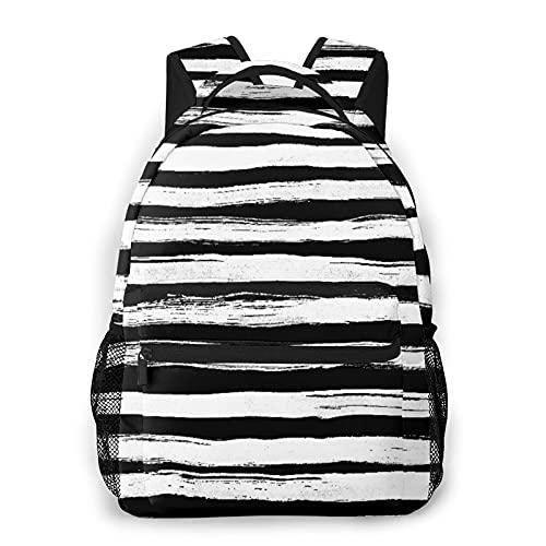 MEJX Mochila Paquete de Almacenamiento,Rayas horizontales abstractas de tinta blanca negra,Casual Bolsa de Estudiantes de la Escuela Mochila Portátil de Viaje