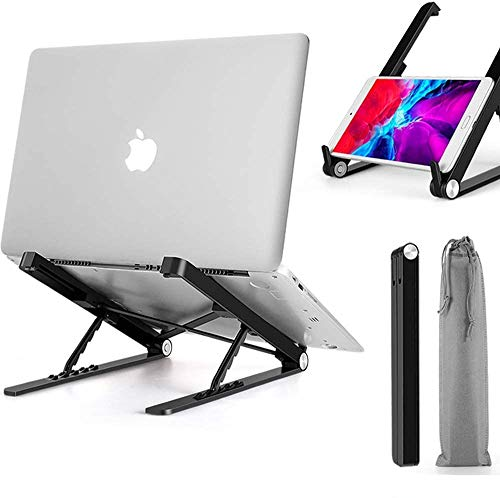 cinsey Laptop Stand Adjustable Height, Foldable Portable Ventilated Laptop Riser for Desk, Ergonomic Tray Universal Lightweight Retractable ComputerHolder for All Notebook/Tablet