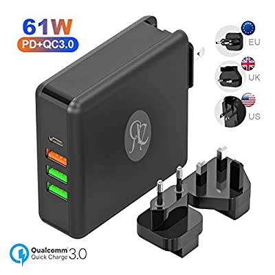61W USB C Charger Power Delivery 3.0 Type C Charger + 24W QC3.0 Fast Charge + Dual 12W USB Port Traveling Interchangeable Plug Compatible for MacBook, Pixel, iPad Pro, Note 8, Galaxy Series, Nintendo