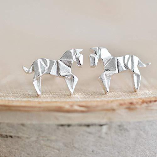 Origami Horse Earrings in Sterling Silver 925