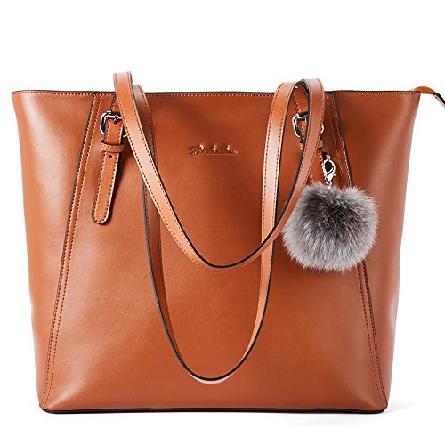 BOSTANTEN Damen Leder Handtaschen Schultertaschen Groß Shopper 15 Zoll Laptoptasche Aktentasche Ledertaschen Braun