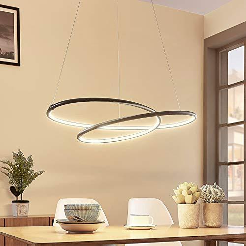 Lampada a sospensione LED 'Mirasu' (Moderno) colore Nero, in Metallo ad es. Soggiorno & Sala da pranzo (1 luce, A+) di Lucande | lampada LED a sospensione, lampada a sospensione LED, lampada LED