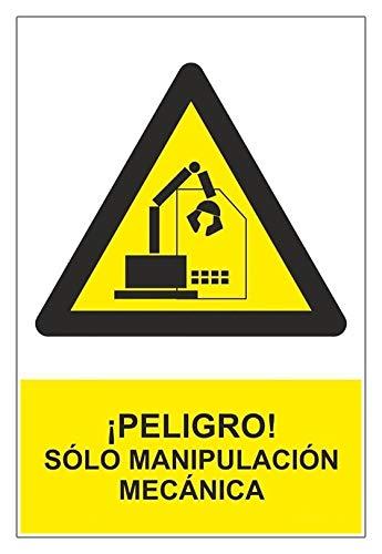 MovilCom - Señal PELIGRO SOLO MANIPULACION MECANICA de tamaño 300x400mm material ALUMINIO (ref.RD31947)