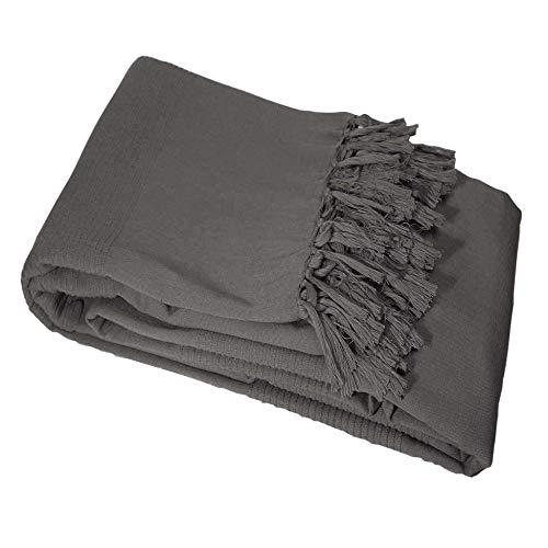 Il giardino delle cicale Lana a frange di divano cotone Tisse Antracite, Cotone, grigio, 220x0.5x220 cm