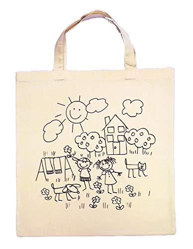 Rayher 3827600 Baumwoll-Tasche, bedruckt, beige, 38x42 cm, Spielwiese