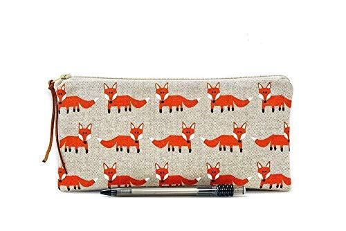 Fox Make Up bag, Zipper pouch, Pencil case, School supplies, Woodland, Cosmetic case, Animal pouch, Small zipper pouch, Pen bag, Teacher gift