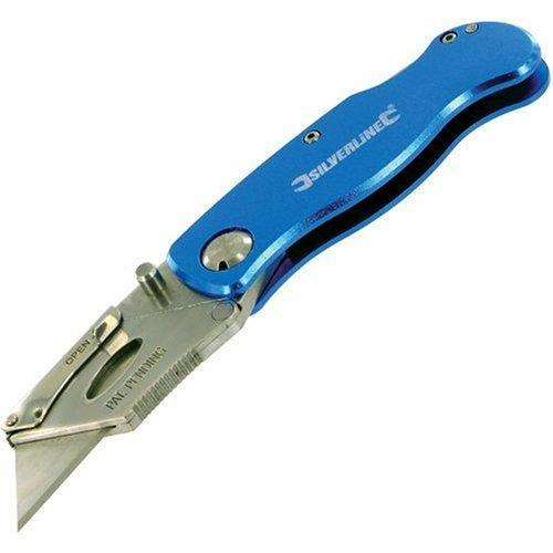 Silverline 290192 - Cúter autoblocante con 10 cuchillas (90 mm)
