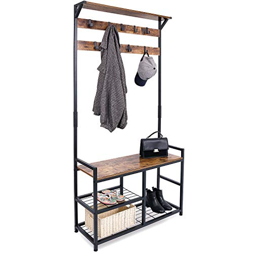 HOMEKOKO Coat Rack Shoe Bench, Hall Tree Entryway Storage Bench, Wood Look Accent Furniture with Metal Frame, 3-in-1 Design (Rustic Brown)