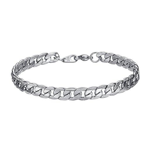 PROSTEEL Silver Color Bracelet Men Women Cuban Link Chain Bracelets 7MM Stainless Steel Hand Chain Jewelry