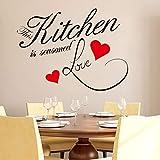 Reloj con TV Etiqueta de la Pared Cita Cocina Corazón Hogar Comedor Gran decoración Tatuajes