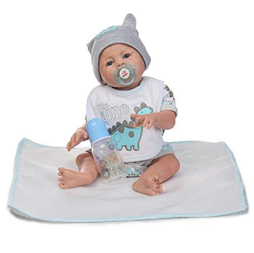 Decdeal poupée Reborn bébé jouet de bain complète Corps en silicone Yeux ouverts avec vêtements