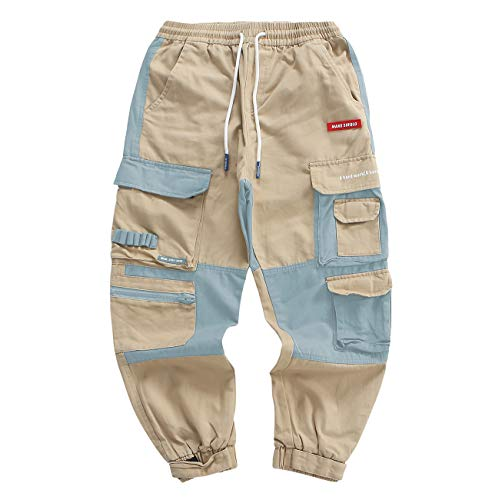 Barrageon Pantaloni Cargo Uomo, Pantaloni Combattimento Lavoro per Adolescenti e Giovani Ragazzi, Pantaloni Sportivi Sciolto-Kakhi,M