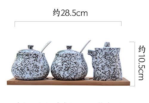 Driedelige Suit Lepel Keramische Kruidenpot Driedelig Pak Huishoudelijk met deksel Japanse Kruiden Zout blik Peper Olie Beige