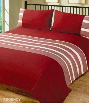 Intimates Single Bed Duvet/Quilt Cover Set Regency Wine/Burgundy Bedding Set Striped
