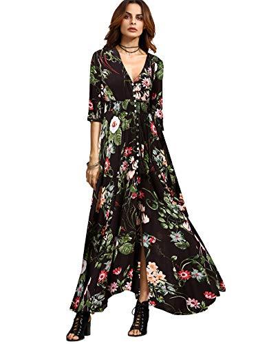 Milumia Women's Button Up Split Floral Print Flowy Party Maxi Dress Multicoloured Medium