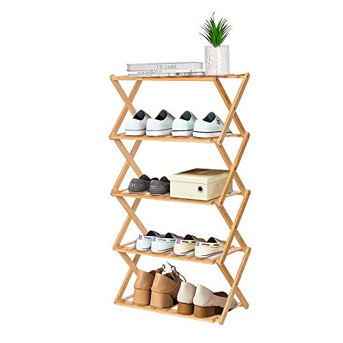 YEAKOO 5-Tier Shoe Shelf, Foldable Bamboo Shoe Rack, Multifunctional Free Standing Shoe Storage Storage Organizer, Natural Color Shoe Rack Plant Display for Home, Living room, Balcony 50cm in Length