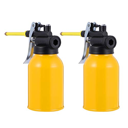GARNECK 2Pcs Industrial Pump Oiler Metal Oil Pump Can High Pressure Squeeze Oil Filling Pot with Spout for Oil Lube Systems Storage 250ml (Yellow)
