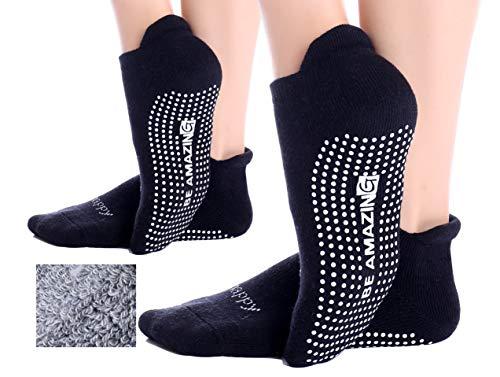 Non-Slip Socks Yoga Barre Pilates Hospital Maternity Sock w/Grips For Women Men… (Two Pairs Black)