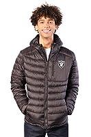 Ultra Game NFL Las Vegas Raiders Mens Full Zip Puffer Jacket, Black, X-Large
