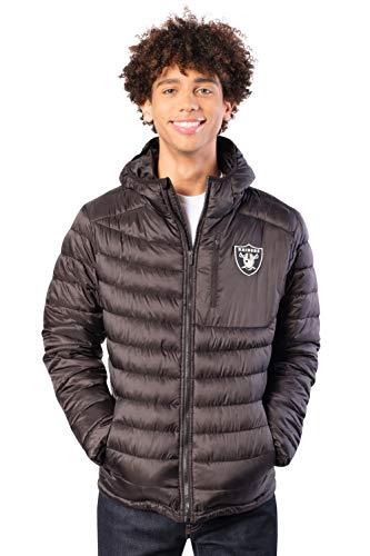 Ultra Game NFL Las Vegas Raiders Mens Full Zip Puffer Jacket, Black, Medium