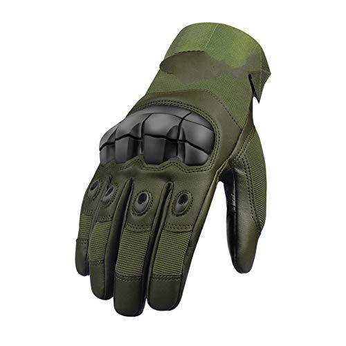 Leder VollfingerHandschuhe Männer Frauen Winter Sommer Touchscreen Hard Knuckles Fahren Moto Bike-Full Finger - Green1-XL