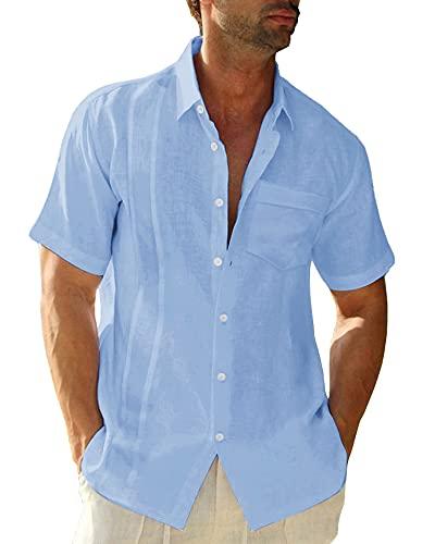 LVCBL Herren-Freizeithemd Normal Gehörtes Revershemd Freizeithemd Hellblau 3XL