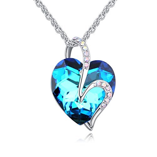 """LWQIONG Heart Necklace for Women Birthstone Pendant Jewelry Crystal Necklace for Wife,Mon,Teen Girls Silver-Tone, 18""""+2"""" Chain"""