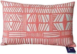 Aitliving Accent Pillowcase Tribal Design Throw Pillow Sham Bolero Geometric Boho Embroidered Cotton Canvas 1 pc Coral Red 12x20 30x50cm