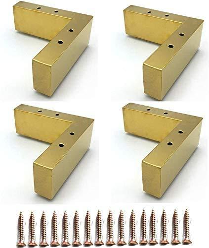 Piedini in metallo 4x, base del divano, in acciaio inossidabile placcato in oro, Gamba di ricambio fai da te for armadi, divani, poltrone, pouf o il piede cuscino (5,5 centimetri) gambe per mobili
