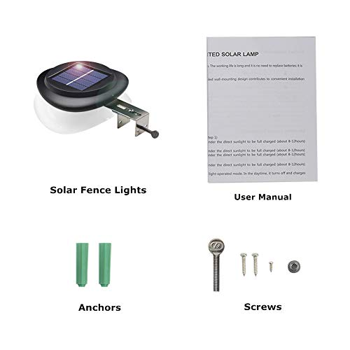 Outdoor Solar Gutter Lights【Upgraded Version】9 LED Solar Fence Post Lights Wall Mount Decorative Deck Lighting with Auto On/Off Dusk to Dawn (Black-Cold Light)