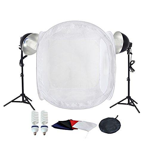 PMS estudio de fotografía 2x 5500K Lámparas de luz diurna con Trípode tienda de luz 80x80x80cm cubo de luz y 4 fondos