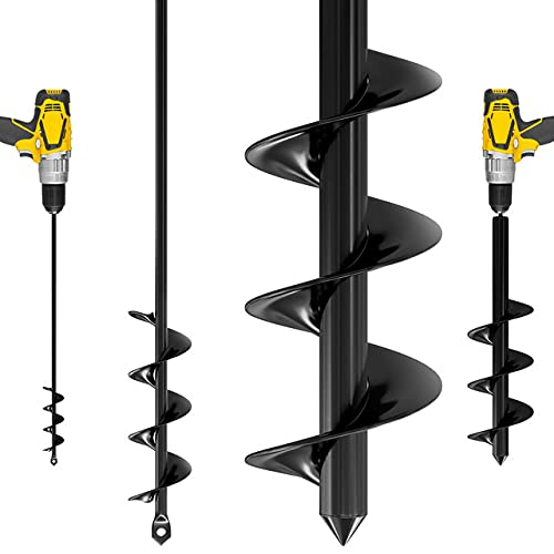 K-Brands Auger Drill Bit for Planting – 1.6 x 16 Inch & 3.5 x 16 Inch set - Garden Spiral Hole Drill Planter for Bulb Planting, Bedding Plants, Umbrella Holes - 3/8 Inch Hex Drive Drill