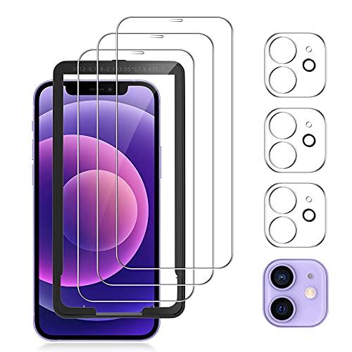 mixigoo 6 Stück Panzerglas Kompatibel mit iPhone 12, 3 Stück Kamera Schutzfolie und 3 Schutzfolie, Mit Positionierhilfe, 9H Härte, Anti-Kratzen, Blasenfrei HD Klar Displayschutzfolie -6.1 Zoll