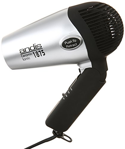 Andis 80020 1875-Watt Fold-N-Go Ionic Hair Dryer, Silver/Black