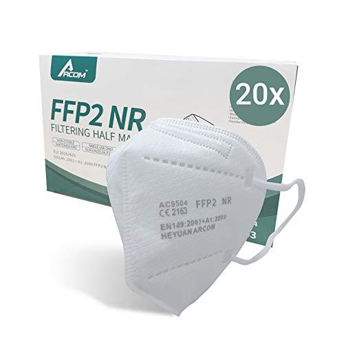 Arcom 20 Stück FFP2 Atemschutzmaske, CE 2163 PPE 892 zertifiziert, 5-lagig, EN149:2001+A1:2009, Mund-Nasen-Schutz, Partikelfiltermaske, Versand aus Deutschland
