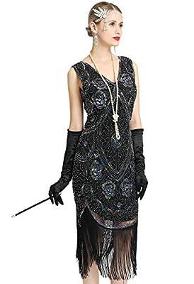 Women's 1920s Flapper Dress Sleeveless Inspired Sequin Fringe Great Gatsby Cocktail Costume