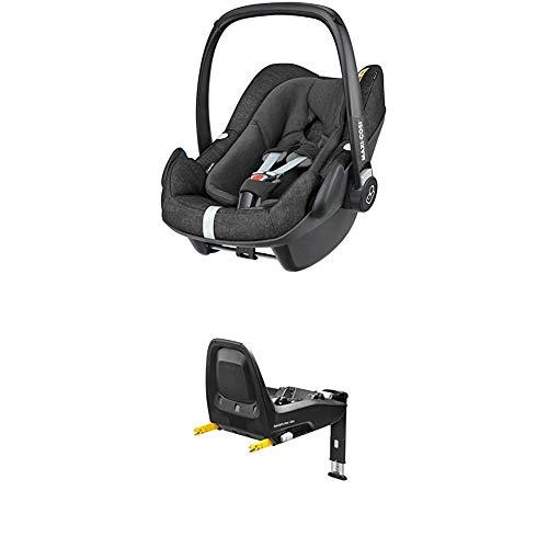 Maxi-Cosi Pebble Plus Babyschale, sicherer Gruppe 0+ i-Size Kindersitz (0-13 kg), nutzbar ab der Geburt bis ca. 12 Monate, INKL. der FamilyFix One Isofix-Basisstation, nomad black