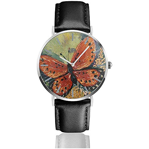 Schilderij bloem vlinder kunst vrouwen eenvoudige ultradunne horloges analoog roestvrij staal kwartshorloges met lederen band