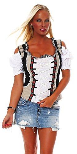 Fashion4Young Damen Dirndlbluse Bluse Trachtenbluse Trachten Oktoberfest Lederhose Trachtenmieder (34, Schwarz Weiß)