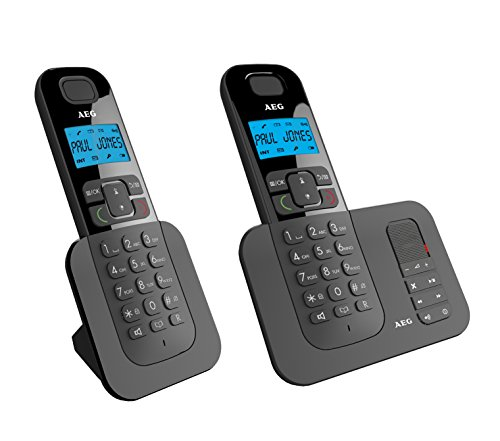 AEG Voxtel D505 Twin - Teléfono inalámbrico DECT con contestador automático: Pack de Dos, Negro