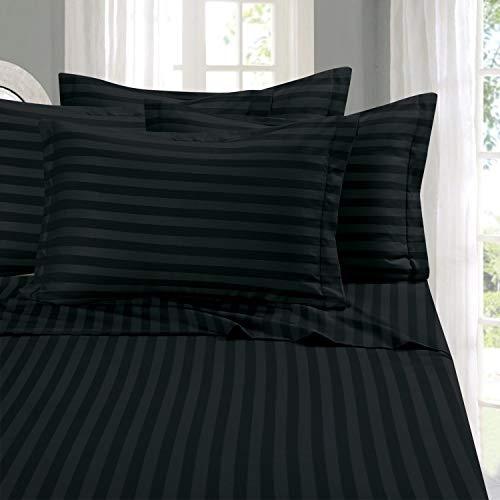 Elegant Comfort Best, Softest, Coziest 6-Piece Sheet Sets! - 1500 Thread Count Egyptian Quality Luxurious Wrinkle Resistant 6-Piece Damask Stripe Bed Sheet Set, King Black