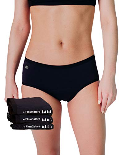 Cool Period Menstruations-Unterhosen, saugfähig, waschbar, umweltfreundlich, Menstruationsregeln (L, 3 Stück in Geschenkbox, mit wasserdichter Tasche)