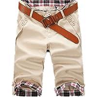 Pantalones cortos para hombre de estilo informal, con bolsillos, para hombre, ropa a la rodilla, para hombre, talla 3XL J Sin Cinturón 50